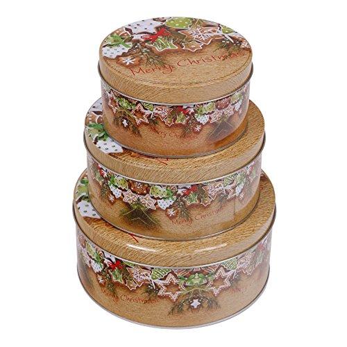 Latas de galletas, juego de 3unidades, formato redondo de Navidad, forma y color a elegir, Weihnachtskekse,...