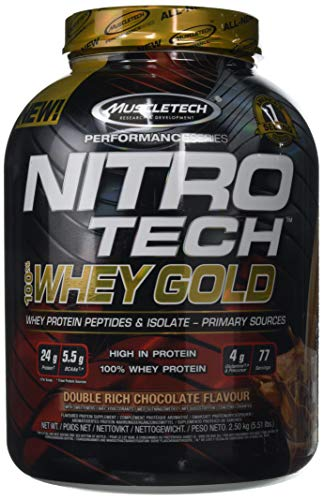 MuscleTech Nitro-Tech Whey Gold Protein Powder, Whey Isolate and Peptides, 24 Grams Protein, 5.5 Grams BCAAs, Easy to Mix, Tastes Great, Gluten-Free, Double Rich Chocolate, 2.5 kg (77 Servings)