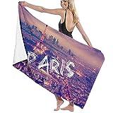 Yuanmeiju 32 X 52 Inch High Absorbency Bath Towel Paris Purple City Lightweight Large Bath Sheet for Beach Home SPA Pool Gym Travel