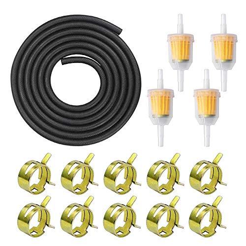 TDCQ Benzinschlauch Kit, kraftstoffleitung,3 Meter Ø 5mm Kraftstoffleitung + 4 PCS 8mm Benzinfilter + 10 PCS Schlauchschellen für Auto Motorrad Roller