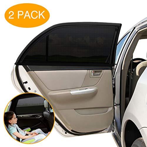 VETOMILE Auto Sonnenschutz Seitenscheibe mit UV Schutz für Baby Kind Haustier 53 * 50cm max zu 113 * 70cm dehnbarer Sonnenschutz Überzug gültig für meisten Auto tragbare Auto Sonnenblende (2 Stück)