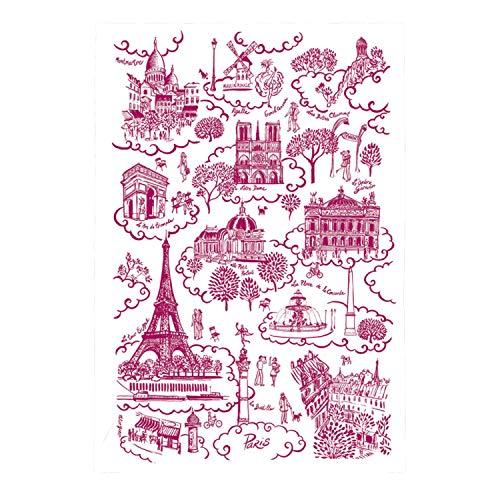 TORCHONS & BOUCHONS - Paris Pink Toile de Jouy Kitchen Towel - TB8491250000 by TORCHONS & BOUCHONS