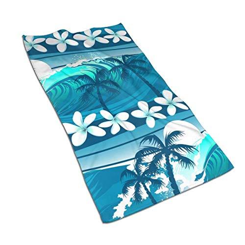 XCNGG Azul Tropical Surfing con Palmeras Toallas de baño de Microfibra Ligero, Suave, Muy Absorbente, para baño, Gimnasio, Deportes, SPA, Viajes, Camping (27,5 x 15,7 Pulgadas)