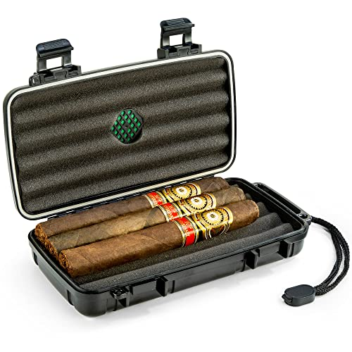 Mrs. Brog Waterproof, Airtight & Durable Travel Cigar Humidor Case - Holds Up to 5 Cigars with Accessories