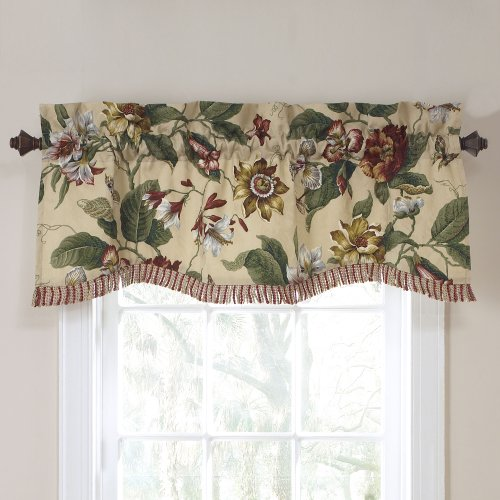 "WAVERLY Valances for Windows - Laurel Springs 50"" x 15"" Short Curtain Valance Small Window Curtains Bathroom, Living Room and Kitchens, Parchment"