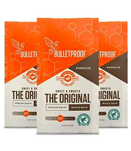Bulletproof The Original Whole Bean Coffee, Medium Roast, Keto Friendly, Certified Clean Coffee, Rainforest Alliance, Whole Bean, 3 Pack
