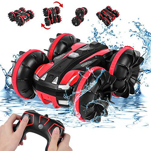 Amphibious Remote Control Car for Boys 8-12, Rabing RC Cars 2.4GHz High-Speed RC Stunt Car 4WD Double Sided 360° Rotating Off-Road Monster Truck for 3 4 5 6 7 Years Old Kids Girls Gifts … (3066)