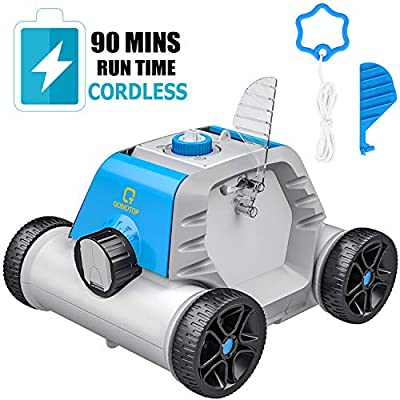OT QOMOTOP Robotic Pool Cleaner, Rechargeable Cordless Design, 90 Mins Working Time, IPX8 Waterproof, Power Detection Technology, Built-in Water Sensor Technology