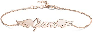 YINSHIFU Custom Name Bracelet for Women, Angel Wings Charm Bracelet Personalized Gift for Girls in Rose Gold Plated
