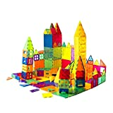 Mag-Genius Award Winning building Magnet Tiles Toy Clear Colors 3D Brain Building Blocks Set With All New Cylinder Design True 3D Building Blocks 141 + 2 bonus Piece Set With Bonus Storage Bin