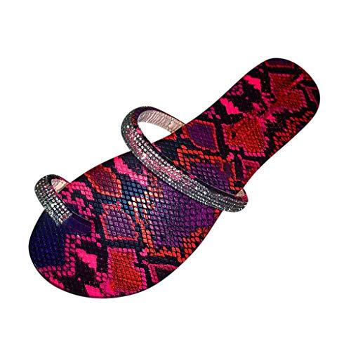 Sandalias Casuales Antideslizantes Pantuflas Vintage De Estilo Romano para Mujer Zapatillas De Suela De Colores Zapatillas con Purpurina De Diamantes De ImitacióN Zapatillas Club Rosa 37-43 EU