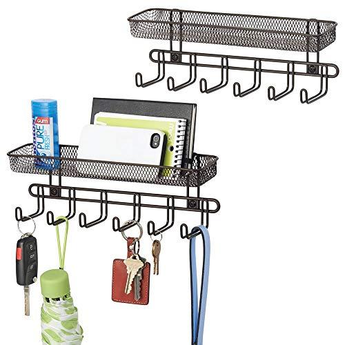 mDesign boite à clés avec 6 crochets et porte courrier (lot de 2) – idéal pour accrocher les clés, cravates ou sacs à main à l'entrée – porte clé mural pratique – couleur bronze