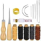 kissral Leder Reparatur Werkzeug Set 16 Stück DIY Handwerk mit Ahle, Faden,Fingerhut, Nadeln,...