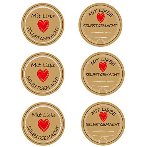Ouceanwin 480 Stück Kraft Selbstgemacht mit Liebe Geschenkaufkleber Vintage Selbstklebend Abdichtung Aufkleber Handmade Label Papier Rund Geschenksticker für Backen Geschenktüten Hochzeit