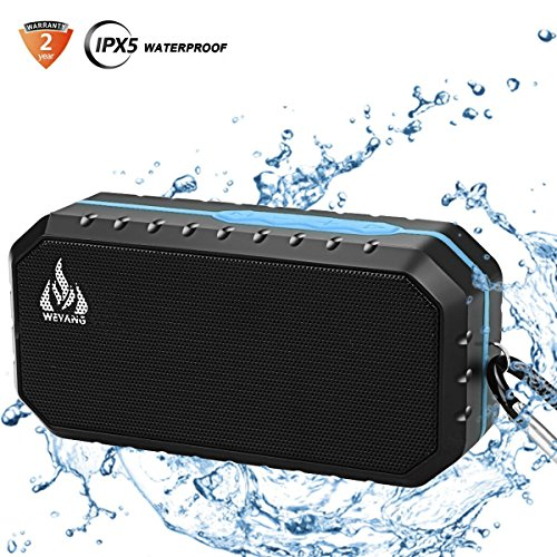 Bluetooth Wireless Speakers Waterproof IPX5 with HD Enhanced Bass Outdoor Wireless Portable Phone Speakers Builtin Mic Support FM AUX TF Card USB for iPhone iPad Android Phones Computer Etc Blue