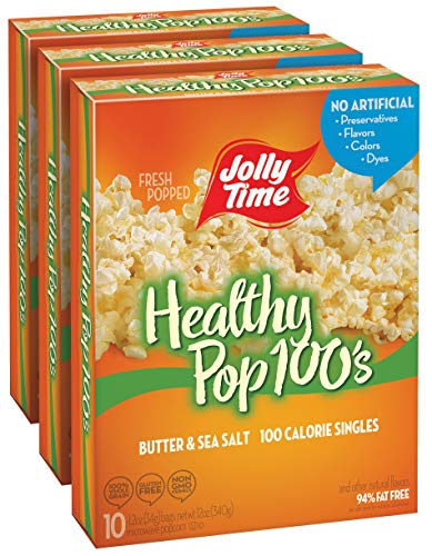 JOLLY TIME Healthy Pop Butter Mini Bags | 100 Calorie Microwave Popcorn Single Serve Bags, Low Fat, Low Calorie Individual Snack Size (10-Count Box, Pack of 3)