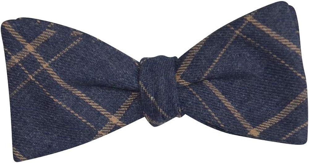 Mens Blue Jean Look Tan Plaid Casual Formal Self-Tie Cotton Bow Tie Adjustable Length Bowtie By The Ellis Tie Company