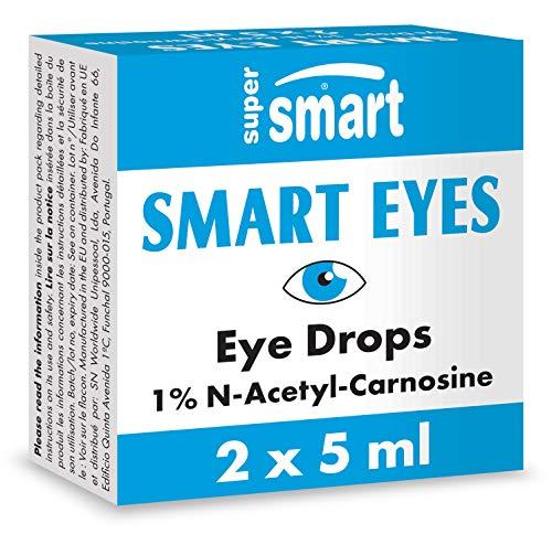 Supersmart - Smart Eyes™ - Augentropfen mit 1% N-Acetyl-L-Carnosin - Hilft, trockene Augen, Reizungen und grauen Star zu verhindern | Nicht GVO & Glutenfrei - 2 Behälter mit jeweils 5 ml