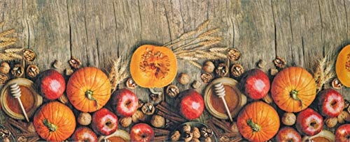 HomeLife Tappeto Cucina Antiscivolo Lavabile Made in Italy [Cm 58X115] | Passatoia Moderna in Ciniglia | Tappeto Runner Lungo Colorato con Zucche e Frutti Autunnali [Cm 58X115]