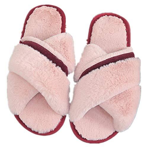 Mullidos Zapatos Casuales con Punta Abierta, Pantuflas Planas De Felpa con Diseño Cruzado Rosa, Cómodas Pantuflas De Algodón con Chancletas para Damas De Interior | 36-37 EUR | UK 4.5-5
