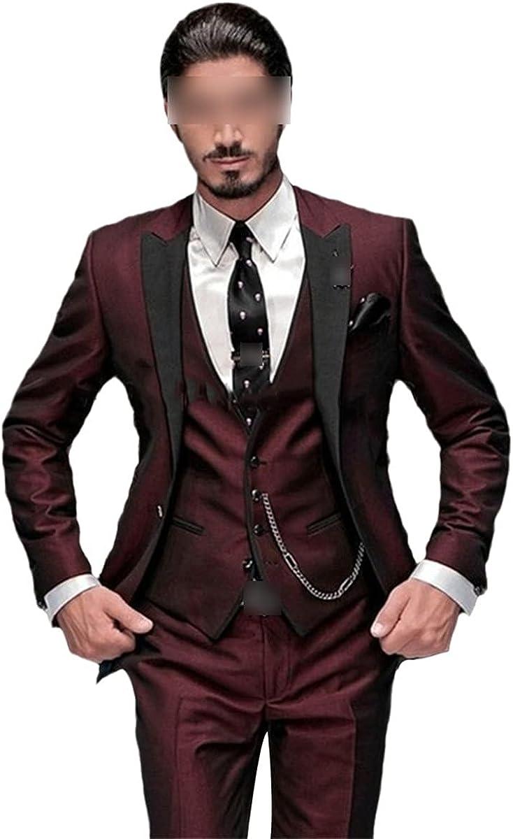 CACLSL Best Man Black Lapel Groom Tuxedo Men's Suit Wedding Best Man Suit Jacket + Pants + Vest