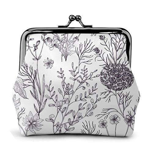 Blühende Kräuter und krautige Pflanzen Geldbörse Geldbörse Bule -Lo Kleine Lederwechselbeutel Geschenk für Frauen