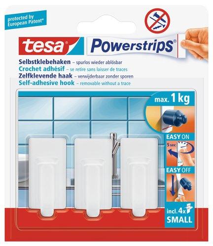 tesa 57530-00013-01 57530 3er Powerstrips Haken WSS, weiß, Klein