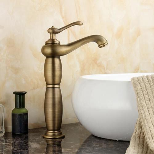 RSZHL waterkraan, antieke look, koper, voor badkamer, waterkraan, grote vaas, wastafel, warm en koud water, eengatkraan, mengkraan, geborsteld massief messing Type 1