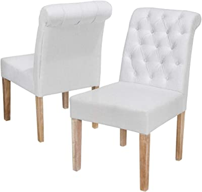Christopher Knight Home Dinah Tufted Fabric Dining Chairs With Roll Top 2 Pcs Set White Chairs