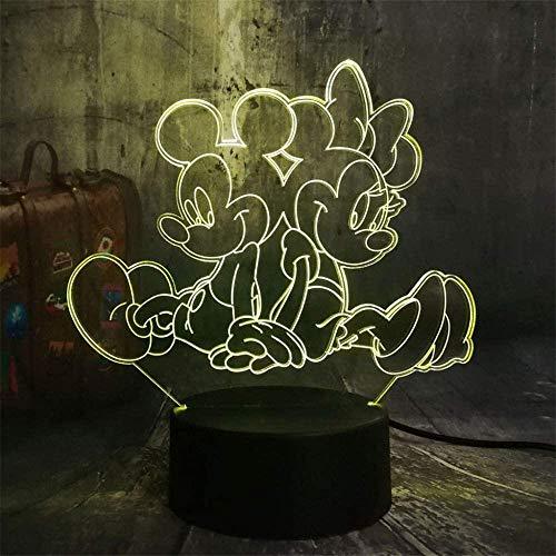 Luz nocturna 3D de Mickey Minnie para niños, lámpara de escritorio con interruptor táctil, mando a distancia, 16 colores para regalos, cumpleaños, festival, dormitorio, decoración