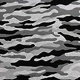 Neumann - Tela (100% algodón, 165 cm de ancho, 100 x 165 cm), diseño de camuflaje, color negro y gris