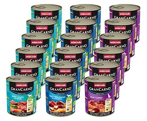 Animonda Gran Carno Hundefutter, Nassfutter für erwachsene Hunde, verschiedene Sorten, Mix mit Fisch, 3 x 6 x 800 g