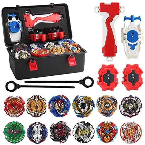CCDUSE Juego de 12 peonzas giratorias con Lanzador, peonzas de Combate Burst Turbo Set Metal Fusion 4D Toy Game Gyro Starter Pack, para niños, niños, niños, Regalo