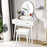 Vanity Desk with Lighted Mirror - Vanity Table Makeup Vanity with Lights, 3 Color Lighting Modes Adjustable Brightness, 4 Drawers Makeup Table with Soft Cushioned Stool for Bedroom Studio, White