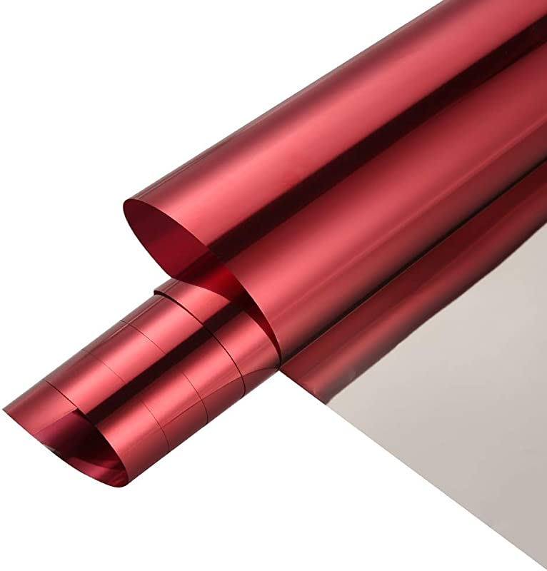 SW Reflective Window Film Mirror One Way Daytime Privacy Anti UV Heat Control Solar Window Tint For Home And Office 17 7 X78 7 Red Silver