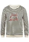 Blend SHE Daria Damen Sweatshirt Pullover Sweater mit Rundhals-Ausschnitt und Stickerei aus hochwertigem Material, Größe:L, Farbe:Snow White (20006)