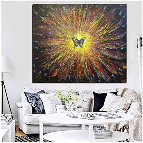 ZXYFBH Poster Bilder Psychedeli Butterfly Sunflower Abstraktes Ölgemälde Druck auf Leinwand Kunst Wandbild für Wohnzimmer Sofa Cuadros 19,7x27,6in (50x70cm) x1pcs No Frame