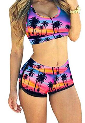 QingLemon Women Bandage Sporty Bathing Suit Boyleg Short Swimwear Swimsuit (FBA) (S, Purplecoconut)