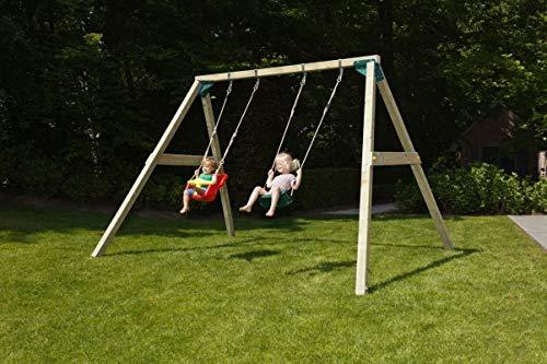 MASGAMES   Columpio de Madera Cuadrada de Dos plazas Kata   Asiento bebé + Asiento Plano   Madera tratada   Anclajes incluidos   Uso doméstico  