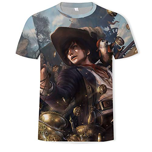XJWDTX Casual Heren T-Shirt 3D Print Cartoon Karakter mannen Korte mouw Losse Coltrui Top