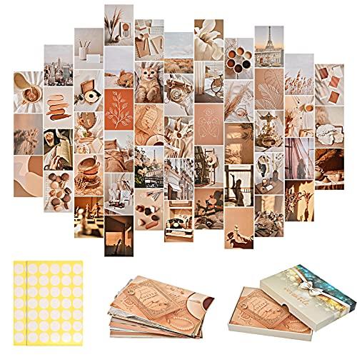 KATELUO 50 Stück Ästhetische Bilder Collage, Ästhetische Wand Collage, Collage Poster Kit Beigem Thematisiert, Wandcollagen Kit für Mädchen Zimmer, Wanddeko, Raum Wandkunst Dekoration