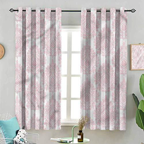 Dasnh Grommet Top Curtain Panels Pink Victorian Pattern W55 x L39 Inch (2 Panels) Thermal Insulated for Living Room