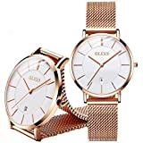OLEVS Ultra Thin Gold Watches for Women Waterproof Ladies Watch Women Inexpensive Fashion Watches with Stainless Steel Date Women Analog Quartz Watch Women