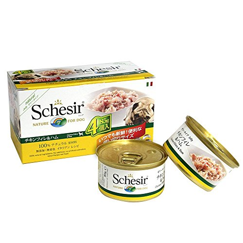シシア (Schesir) ドッグ マルチパック (チキンフィレ&ハム, 3箱+α)