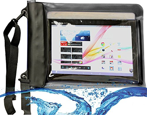 Navitech schwarzes Wasserfestes Case, Wasserfestes Cover für 10 Zoll Tablets Inklusive das Sony Xperia Z4 10.1 inch