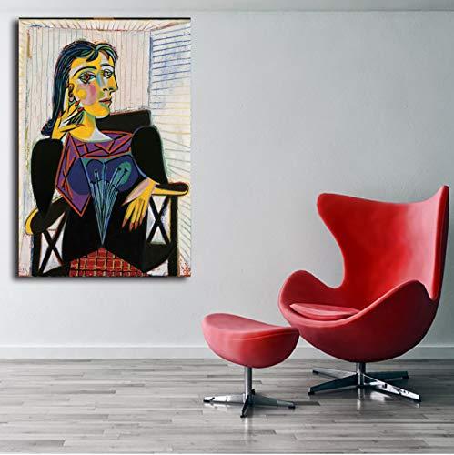 QINGRENJIE Retrato de Dora Maar por Pablo Picasso Carteles de Lienzo Impresiones Arte de la Pared Pintura Imagen Decorativa Decoración Moderna del hogar Obra 40 * 60 cm sin Marco