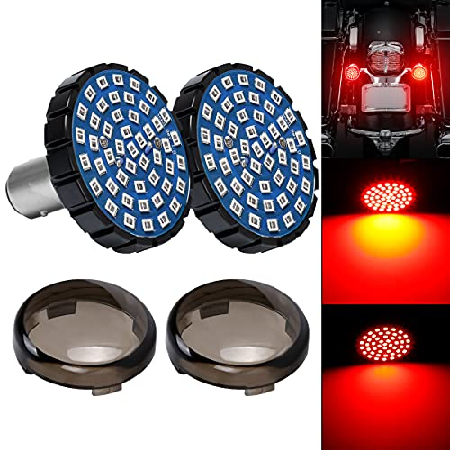 """SUPAREE 2"""" Red LED Turn Signals & Brake Light with 1157 Insert Kit for Harley Davidson Motorcycles- (Rear Turn Signals)"""