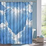 Country Shower Curtain Landscape Heart Clouds Romantic Bathtub Splash Guard