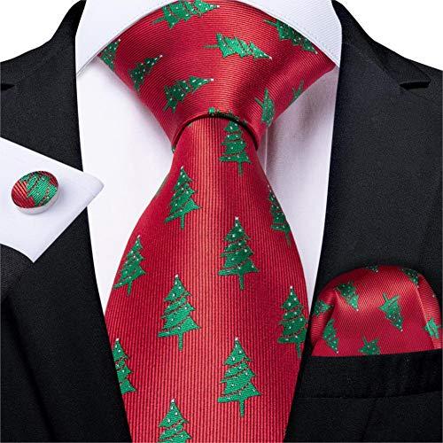 WOXHY Cravate Homme Nouveauté Conception Noël Rouge Vert Arbre Cravate en Soie pour Hommes Halloween Hanky Bouton De Manchette Cadeau Cravate Ensemble