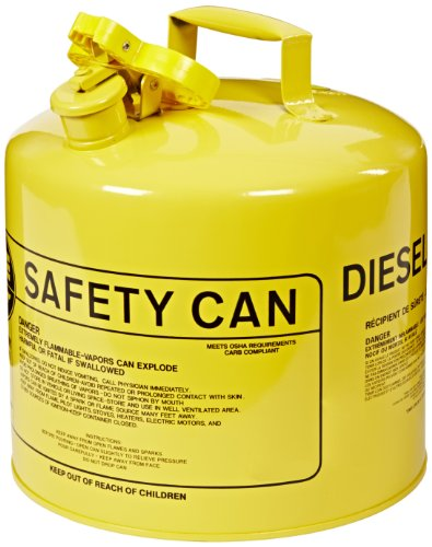 "Eagle UI-50-SY Type I Metal Safety Can, Diesel, 12-1/2"" Width x 13-1/2"" Depth, 5 Gallon Capacity, Yellow"